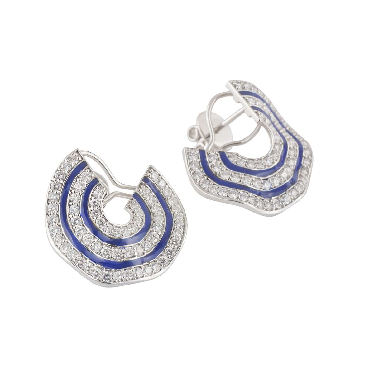 White Gold Diamond and Enamel Earrings 3.28ct